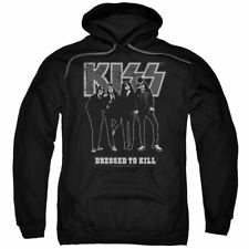 KISS ROCK Heavy METAL FLEECE HOODIE Official Dressed To Kill Black SIZES S - 2XL