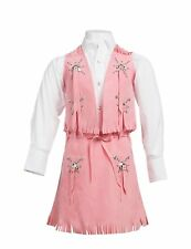 Kid's ~ COWGIRL VEST/SKIRT SET~ PINK Fringe - Cowboy Halloween Costume