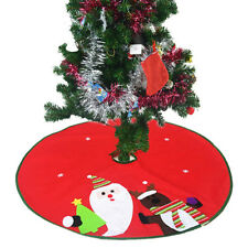 Round Snowman Santa Christmas Tree Skirt Stands Ornaments Home Party Decor Witty