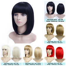 Short Straight Bob With Flat Bangs Hair Wig Black Synthetic Heat Resistant Style