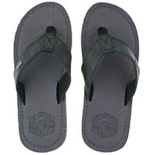 MENS URBAN BEACH KANEOHE GREY BLACK LEATHER TOE POST FLIP FLOP BEACH SANDALS
