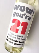 21st Birthday, Funny, Humorous, Sarcastic Wine, Champagne Beer Bottle Label Gift