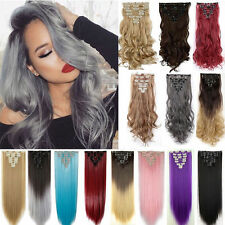 Full Head Clip In 100% Natural Hair Extensions Thick As Human Hair Extension AP8