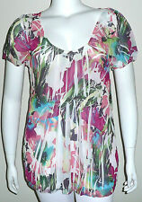 Simply Irresistible Sublimation Floral SS Top Blouse Pink White - Plus 1X 2X 3X