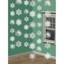 Hanging Ceiling Christmas Decorations String Indoor Xmas Party White Snowflakes