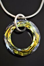 Pendant, Necklace Made w/ 20mm Swarovski Crystal Element. Sahara Colored. Silver