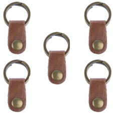 25mm - PU Leather Drop Keyring Car Key Ring Keychain Pendant Brown (5 PCS)