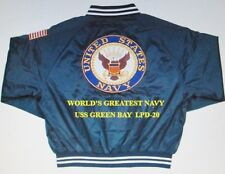 USS GREEN BAY  LPD-20   NAVY ANCHOR EMBROIDERED 2-SIDED SATIN JACKET