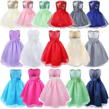 Flower Girl Kid Baby Sequins Princess Party Wedding Bridesmaid Formal Tutu Dress