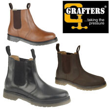 Grafters 'Gwent' Unisex Leather Twin Gusset Chelsea Boots Mens Womens Ankle Boot