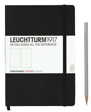 Leuchtturm 1917 A5 Notebooks in Black with Square, Dotted, Lined or Ruled Paper
