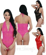 Women's Sexy Lace Sheer Bodysuit Halter Teddy Leotard Thong Nightwear Sleepwear