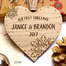 Personalised Our First Christmas Wooden Tree Ornament Bauble Decoration Gift