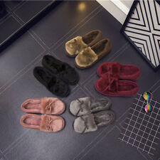 Winter Women Bowknot House Slippers Soft Warm Faux Fur Home Slip-on Shoes Hot