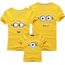 Minions Family Matching Clothes Mom Dad Kid Baby Summer T-Shirt Top Tee Yellow