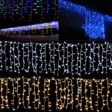 96~1080 LED Hanging Icicle Curtain Lights Outdoor Fairy Xmas String Wedding 220V