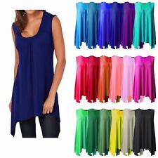 LADIES HANKY HEM TOP SLEEVELESS SUMMER WOMEN SCOOP NECK VEST LOT TUNIC FOR WOMEN