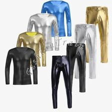 Sexy Men's Faux Leather V-neck Undershirt Tight Pants Wet Look Blouse Club Wear