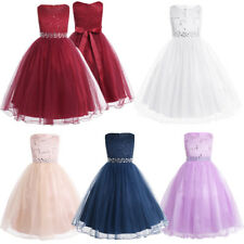 Flower Girl Dress Kids Party Wedding Sequined Lace Bridesmaid Prom Dress Formal