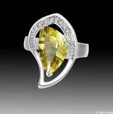 SET Woman Jewelry Irregular Citrine 925 Sterling Silver Gemstone Ring size 7 8 9