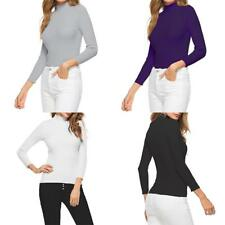 Women Long Sleeve Turtleneck Casual Knit Top Blouse Solid Pullover Basic Sweater
