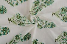 Indian Hand Block Print 100% Cotton Floral Print Upholestry Fabric by the Yard