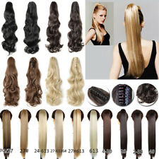 Clip In Ponytail Claw On Hair Extension Piece Wavy Straight Style Long Fake Ah4
