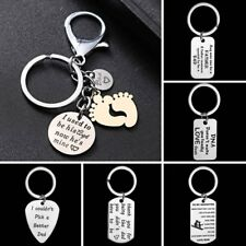"Cool ""DNA/LOVE/FATHER"" Dog Tag Stainless Steel Key Ring Key Chain Family Gift"
