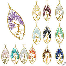 Oval Leaf Type Gemstone Crystal Tree Of Life Pendant Marquise Golden Wire Wrapp
