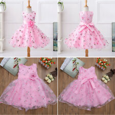 Flower Girl Dress Pink Princess Pageant Wedding Party Bridesmaid Dress Kid Child