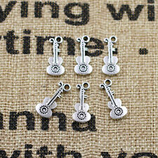20/50/100PCS Tibet Silver Guitar Pendants Charms Pendants Beaded Jewelry Finding