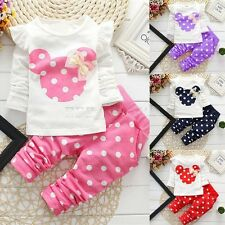 2PCS Kids Baby Girls Long Sleeve T-shirt+Pants Polka Dots Outfit Minnie Clothes