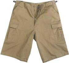Khaki - Military Long Cargo BDU Shorts - Polyester Cotton Twill