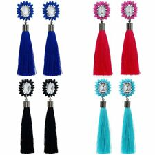 Women Elegant Boho Crystal Rhinestone Round Tassel Drop Dangle Earrings Jewelry
