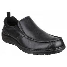 Hush Puppies BELFAST SLIP ON MT Mens Casual Leather Lace Up Dual Fit Shoes Black