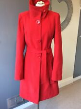 FANTASTIC LONG TALL SALLY RED LONG WARM WINTER COAT WITH BELT SIZE 14 L@@@@K!!!