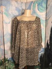 ESSENTIALS MILANO XL BROWN SHEER ANIMAL PRINT SQUARE NECK 3/4 SLEEVE TUNIC TOP