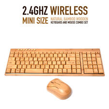 Handmade 2.4GHz Wireless Mini Natural Bamboo Wooden Keyboard and Mouse Combo
