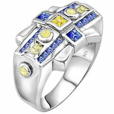 Men's Sterling Silver .925 Designer Ring CZ Stones, Platinum Plated Jewelry