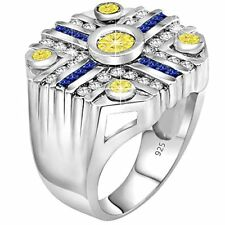 Men's Sterling Silver .925 Ring 49 Round Baguette White, Blue, Canary CZ stones