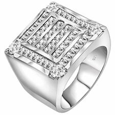 Men's Sterling Silver .925 Ring Featuring 56 Baguette and Round CZ Stones