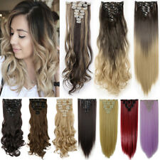 Ombre Real Natural Clip In AS Human Hair Extensions Full Head US Hair Extentions