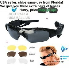 Bluetooth Sun Glasses Sport with Headset Headphone Earphone +3 lenses SAVE $4