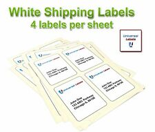 "4 Labels Per Sheet, 4"" x 5"" size, Stamps.com SDC-4650, Laser & Inkjet Compatible"