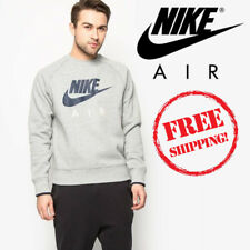 Nike Air Crew Mens Fleece Sweatshirt Sports Track Top Heather Grey Navy