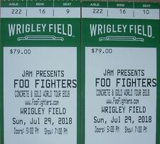 2 of 4 FOO FIGHTERS Wrigley Field Chicago 7-29-17 Sect 222 Row 16 Hard Tickets