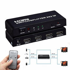 2 Port HDMI Switcher + Splitter 1080P 3D HDTV Video Converter With IR Remote