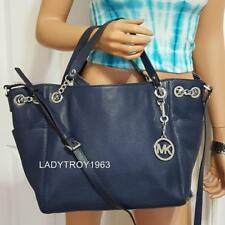 NWT MICHAEL KORS JET SET CHAIN LARGE GATHER SHOULDER TOTE BAG PURSE IN NAVY $328
