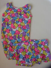 NWT GIRLS HEART PRINT GYMNASTIC LEOTARD & SHORTS SIZE CHILD  LARGE
