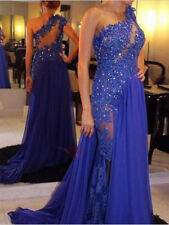 Sexy Gorgeous One-Shoulder Appliques Beaded Long Evening Dresses Prom Party Gown